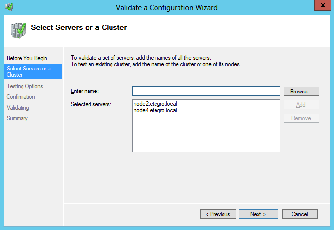 Select Servers or a Cluster