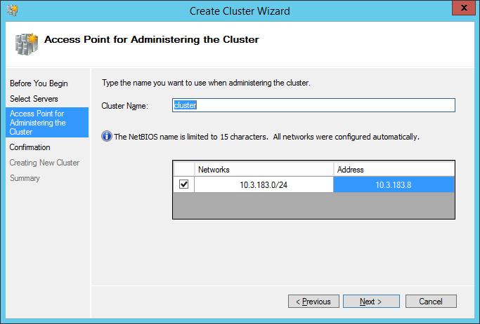Имя и IP-адрес кластера