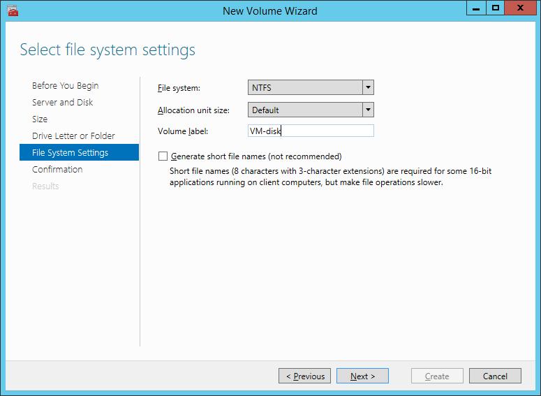 Настройка файловой системы диска