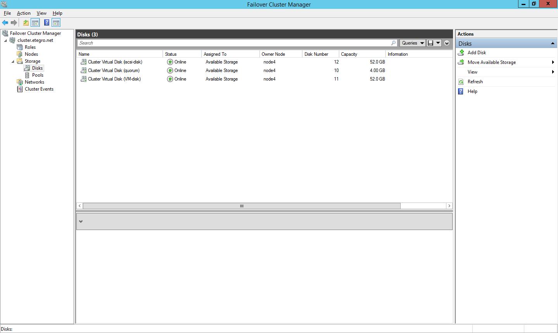 Диски в консоли Failover Cluster Manager