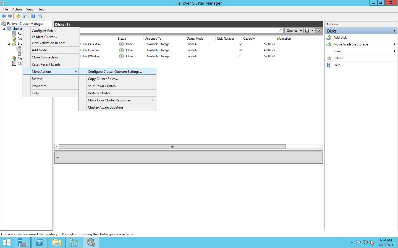 Установка диска кворума в консоли Failover Cluster Manager