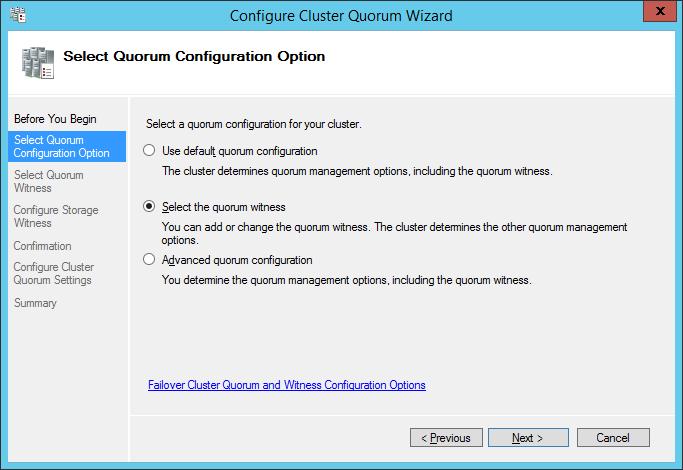 Выбор конфигурации диска кворума