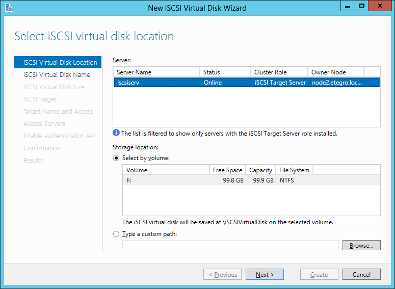 iSCSI Virtual Disk Location