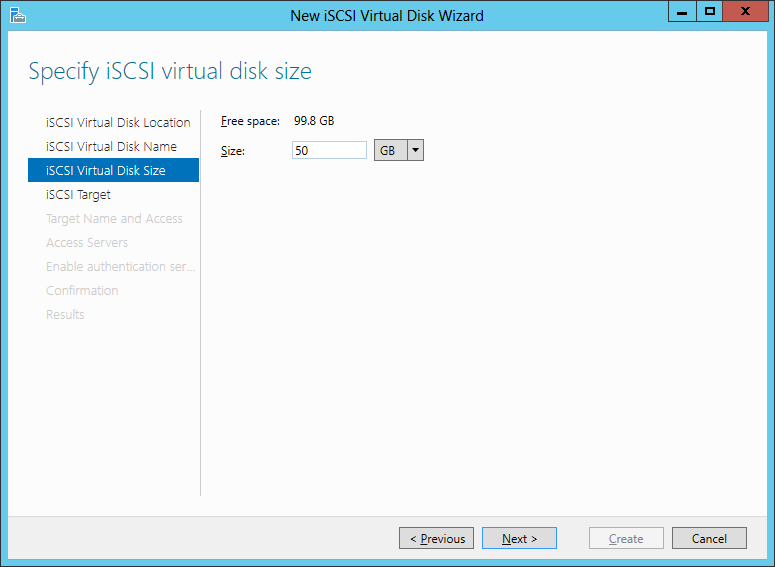 iSCSI Virtual Disk Size