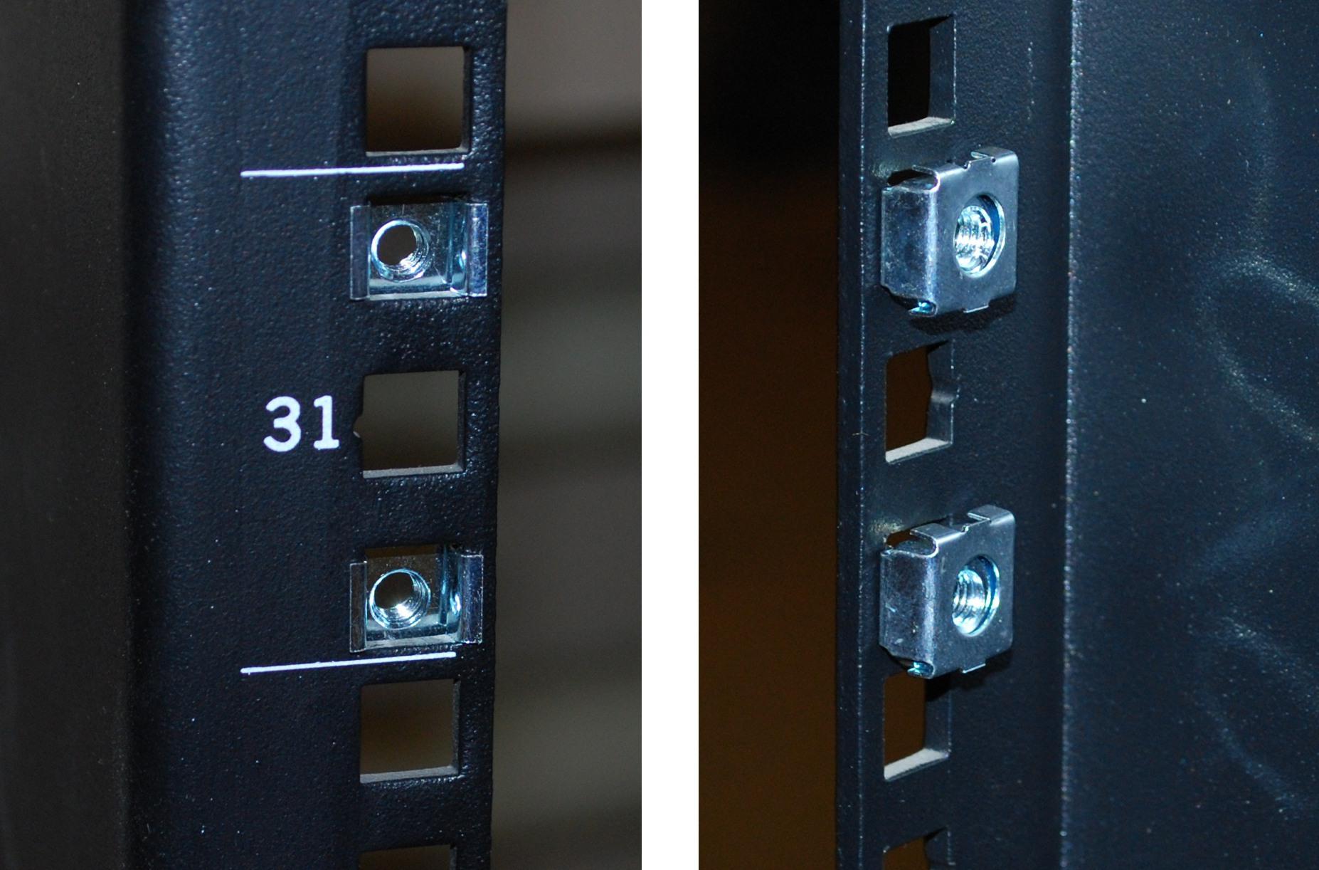 Крепление гаек на задней части стойки. Слева - вид снаружи, справа - внутри.