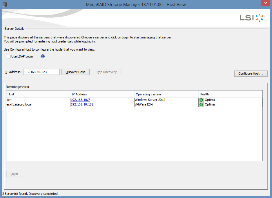 MegaRAID Storage Manager - Host View