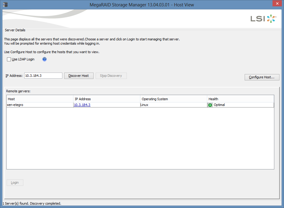 MegaRAID Storage Manager - Host View